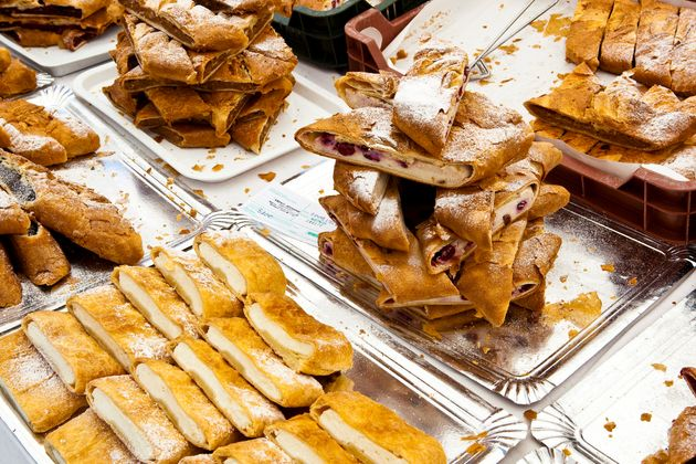 Pastries for sale displayed on stall at St Stephen's Day festival.
