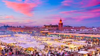 Morocco, Marrakesh, Djemaa el-Fna Square.Djemaa el Fna is a square and market place in Marrakesh's medina quarter (old city)