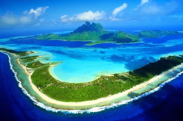 French Polynesia, Bora Bora, island and lagoon, aerial view