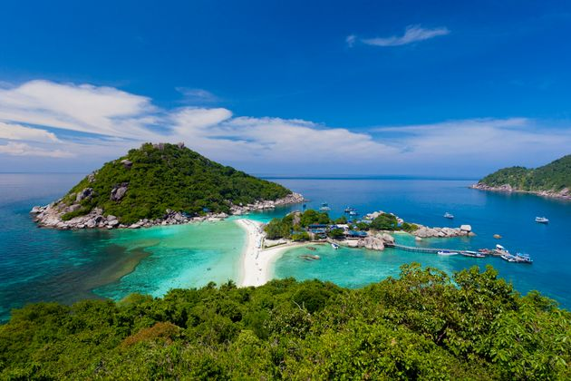 Panoramic view of Nang Yuan Island at Koh Tao, Thailand