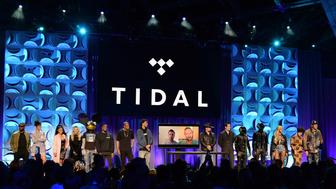 Artists appear at the Tidal launch event.