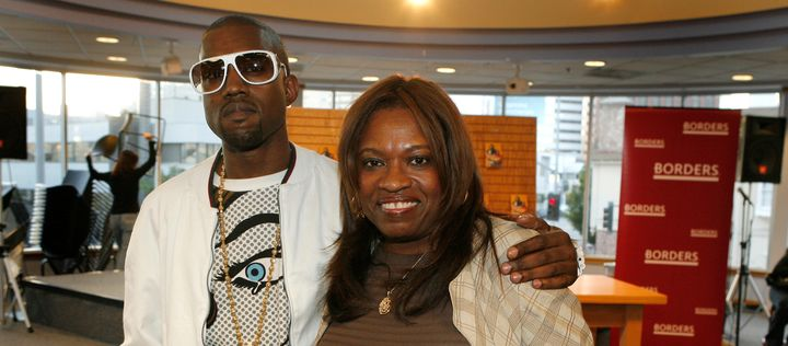 LOS ANGELES - MAY 9:  Author Donda West (R) and her son, hip-hop performer Kanye West atend a book signing for her book 'Rais