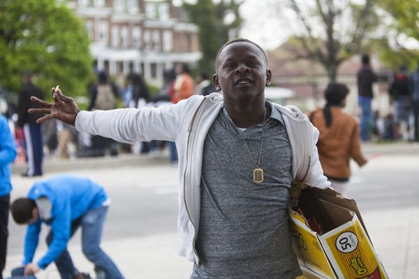 WASHINGTON, USA - APRIL 27: A protestor during riots in Baltimore, USA on April 27, 2015. Protests following the death of Fre