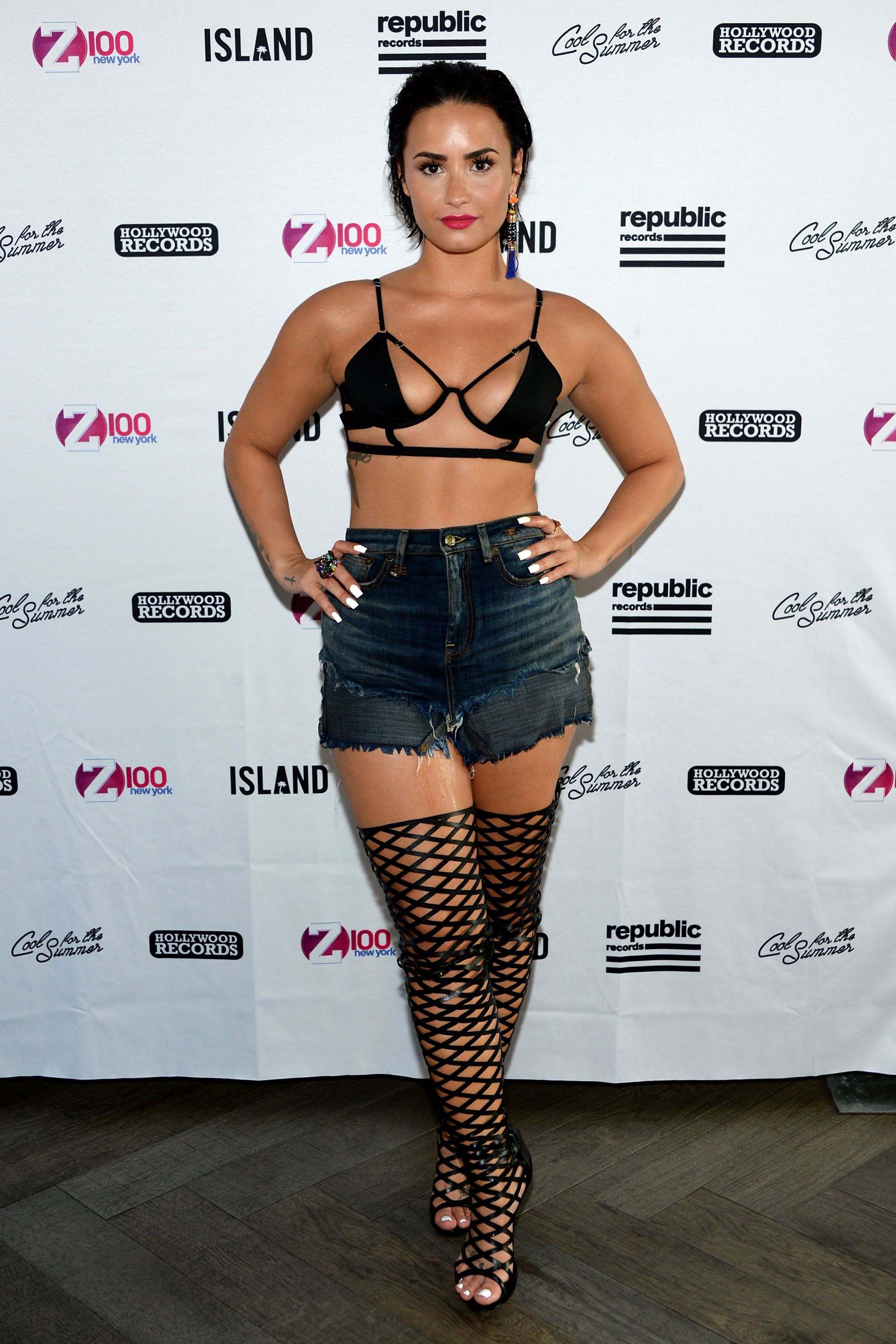 "NEW YORK, NY - JULY 01:  Singer-songwriter Demi Lovato attends Demi Lovato's Debut of her New Single, ""Cool for the Summer,"" with Z100 at Gansevoort Park Avenue on July 1, 2015 in New York City.  (Photo by Ben Gabbe/Getty Images for Gansevoort Hotel Group)"