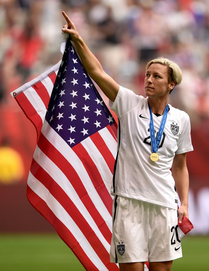Abby Wambach celebrates the U.S. team's 5-2 victory against Japan in the FIFA Women's World Cup on July 5, 2015, in Vancouver