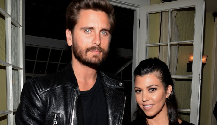 LOS ANGELES, CA - APRIL 23:  TV personalities Scott Disick (L) and Kourtney Kardashian attend Opening Ceremony and Calvin Kle