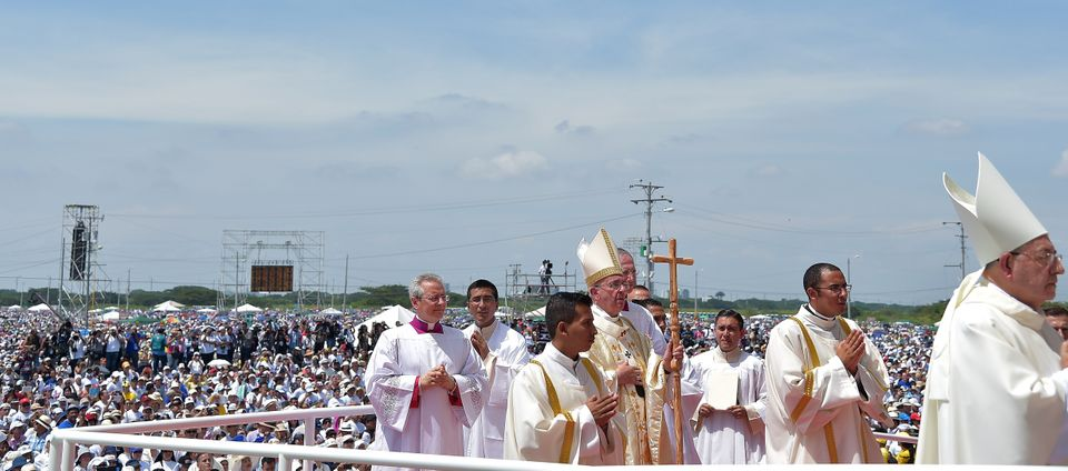 Pope Francis arrives to celebrate an open-air mass at Samanes Park in Guayaquil, Ecuador, on July 6, 2015.