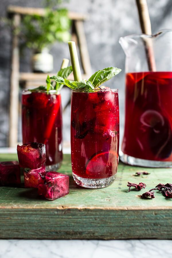 "<strong>Get the <a href=""http://www.halfbakedharvest.com/hibiscus-lemongrass-basil-and-honey-sweet-iced-tea/"" target=""_blank"""
