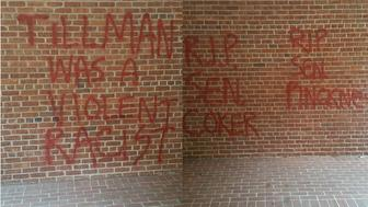 Tillman Hall at Clemson University was vandalized Monday, July 6, 2015.