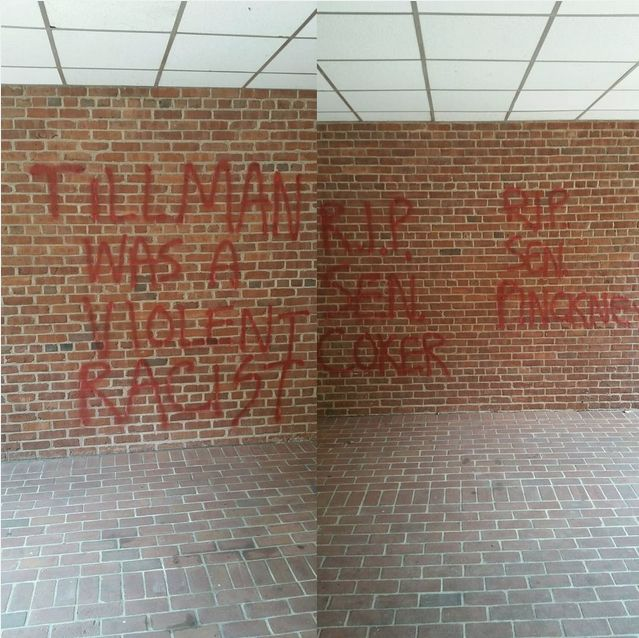 Clemson University's Tillman Hall was vandalized Monday. Tillman is a prominent building on the Clemson, South Carolina campu