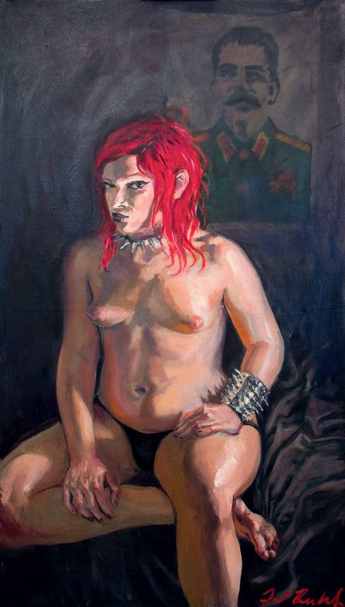 Rebeka Refuse, activist and adult model. Oil on linen, 24x46in, February 2015.