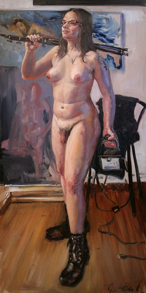 Tobi Hill-Meyer, adult entertainment producer, educator, and activist. Oil on canvas, 30x60in, February 2015.