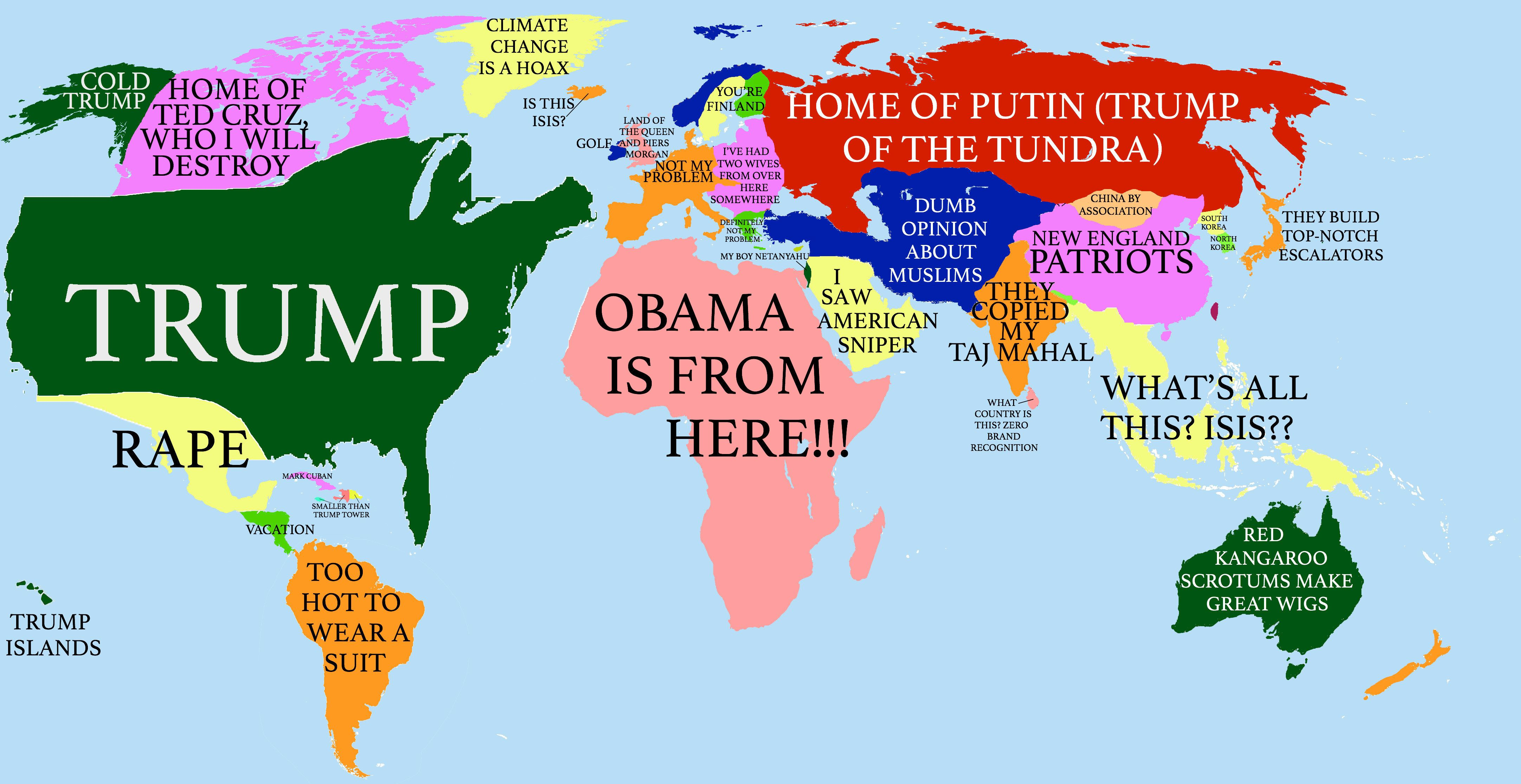 How America Sees The World Map.How Donald Trump Sees The Globe Huffpost