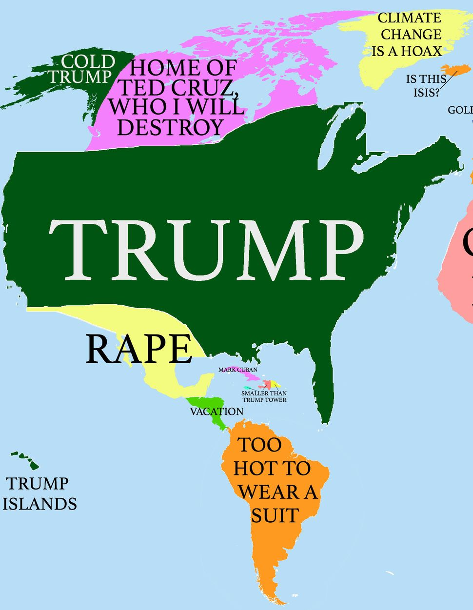How Donald Trump Sees The Globe HuffPost - Trump hair us map