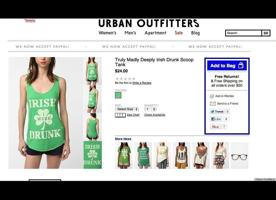 In March 2012, Urban Outfitters began selling St. Patrick's Day-themed clothing that included shirts with derogatory statemen