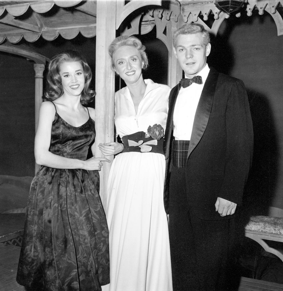 In this Oct. 29, 1960 photo, Jane Fonda (left) and James MacArthur (right) poses with Celeste Holm outside the Music Box Thea