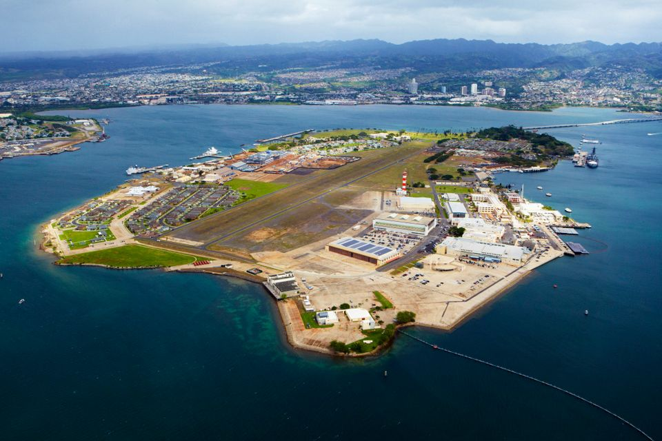An aerial view of Pearl Harbor.