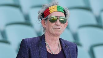 ADELAIDE, AUSTRALIA - OCTOBER 23:  Keith Richards of the Rolling Stones walk onto the Adelaide Oval for a photo call to pose for the media ahead of their Australian tour at Adelaide Oval on October 23, 2014 in Adelaide, Australia.  (Photo by Morne de Klerk/Getty Images)