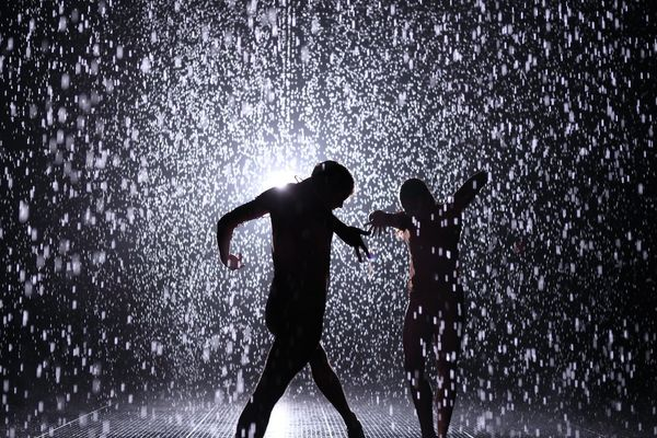 Random International. Rain Room. Installation view at The Museum of Modern Art, as part of MoMA PS1's EXPO 1: New York, 2013.
