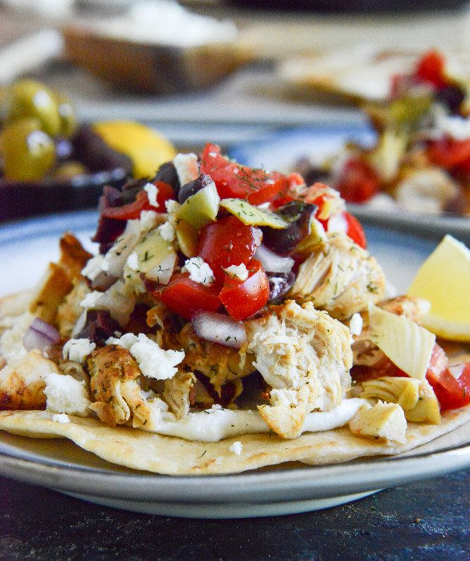 "<strong>Get the <a href=""http://www.howsweeteats.com/2013/06/marinated-greek-chicken-tostadas/"" target=""_blank"">Marinated Gre"