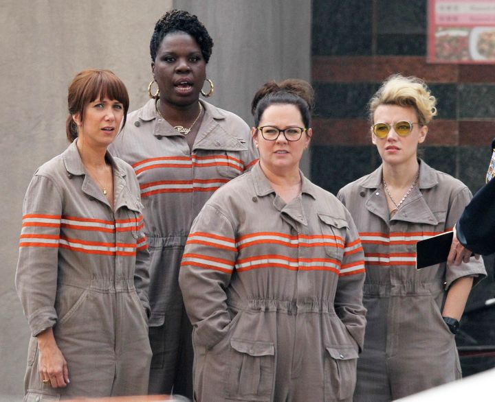 """Ghostbusters"" cast Melissa McCarthy, Kristen Wiig, Leslie Jones and Kate McKinnon suit up in new uniforms."