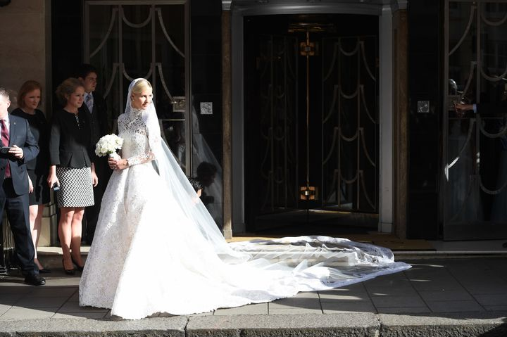 Bride Nicky Hilton leaving Claridges Hotel in London. She wed James Rothschild Friday.