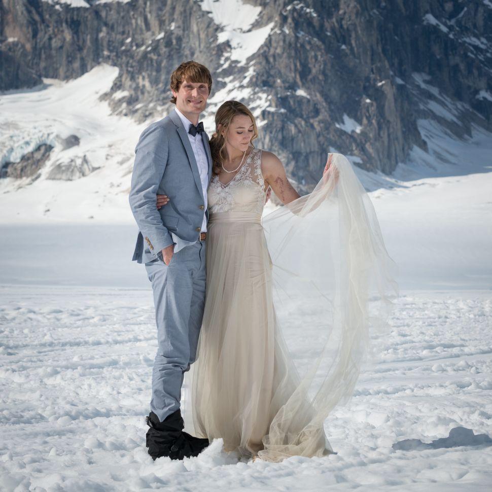 <p>Lindsay and John pose on Ruth Glacier in Alaska.</p>