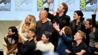 SAN DIEGO, CA - JULY 11:  Actress Jennifer Lawrence (blonde hair) and cast and crew of FOX superhero movies appear onstage at the 20th Century FOX panel during Comic-Con International 2015 at the San Diego Convention Center on July 11, 2015 in San Diego, California.  (Photo by Kevin Winter/Getty Images)