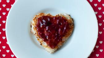Heart shaped toast with Jam.