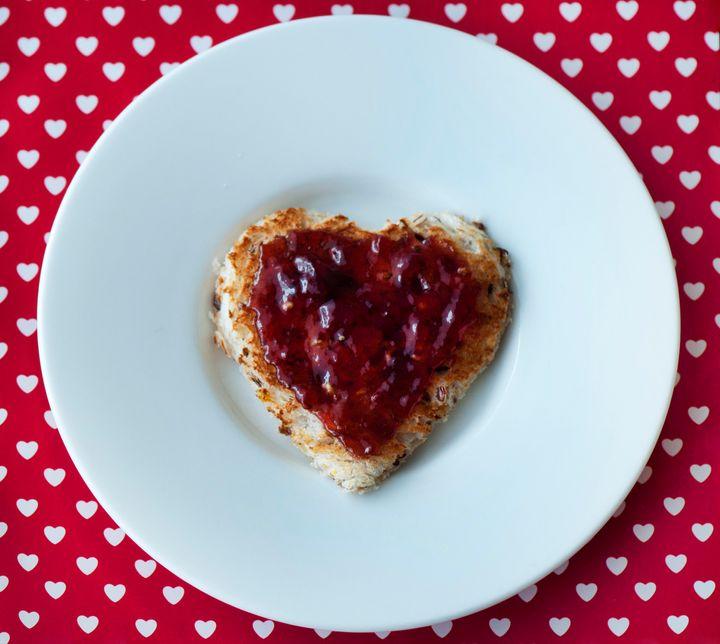 Heart shaped toast with Jam.