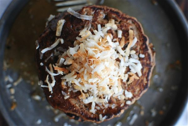 "<strong>Get the <a href=""http://bevcooks.com/2013/09/toasted-coconut-chocolate-pancakes/"" target=""_blank"">Toasted Coconut Cho"