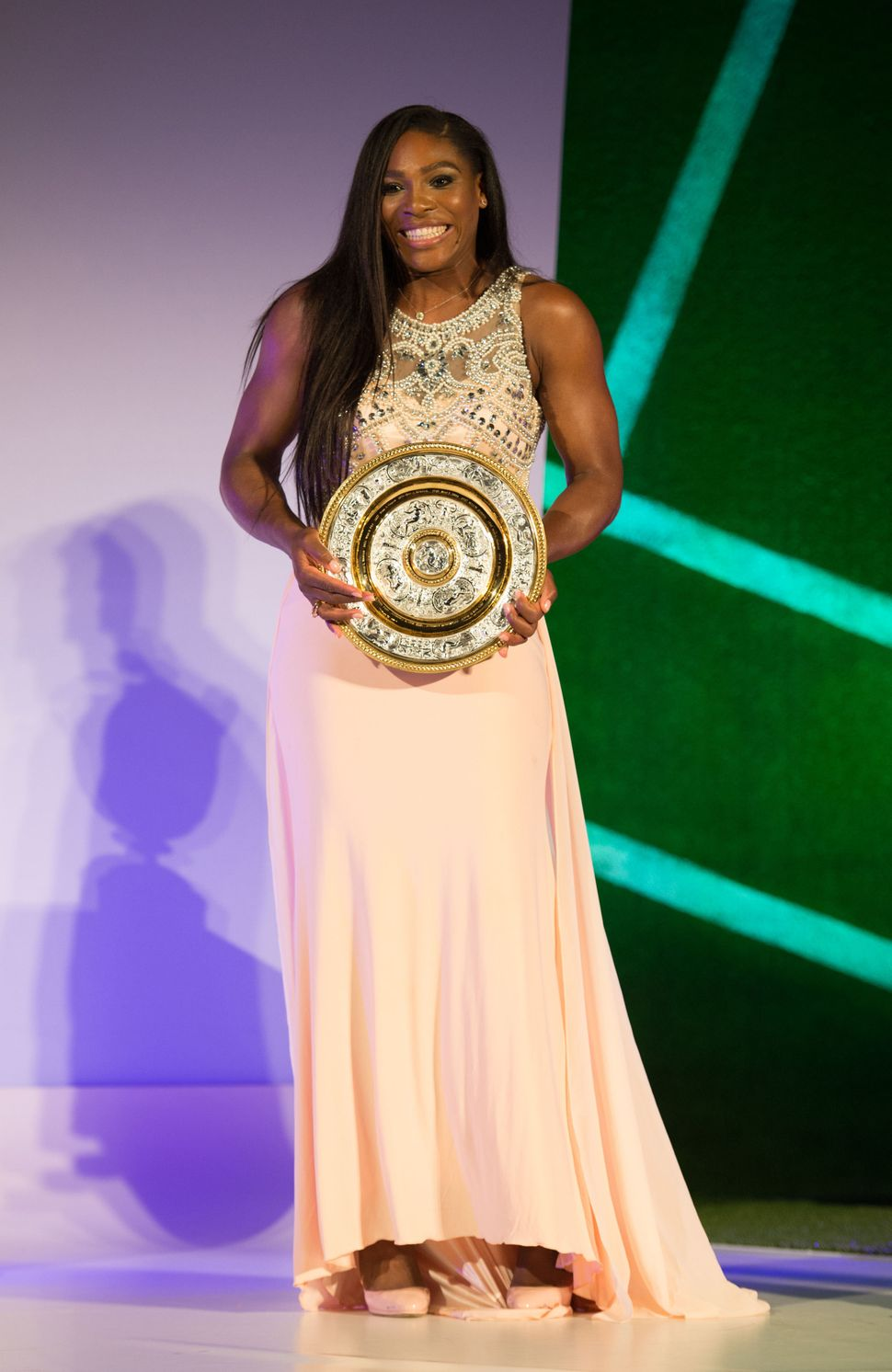 LONDON, ENGLAND - JULY 12:  (EDITORIAL USE ONLY - NO COMMERCIAL USEAGE)  Serena Williams of the United States poses on stage