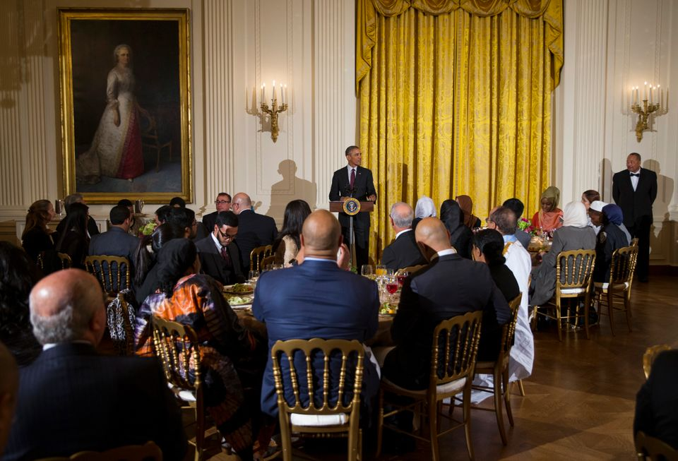 President Barack Obama delivers remarks during the annual Iftar dinner, celebrating the Muslim holy month of Ramadan, in the