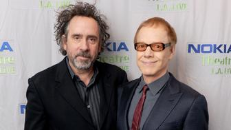 LOS ANGELES, CA - OCTOBER 31:  (L-R) Director Tim Burton and composer Danny Elfman attend Danny Elfman's Music from the films of Tim Burton at Nokia Theatre L.A. Live on October 31, 2013 in Los Angeles, California.  (Photo by Kevin Winter/Getty Images)