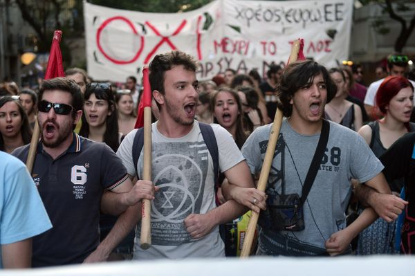 "Youths chant slogans supporting the ""no"" vote for the upcoming referendum in Athens, Greece, on July 2, 2015."