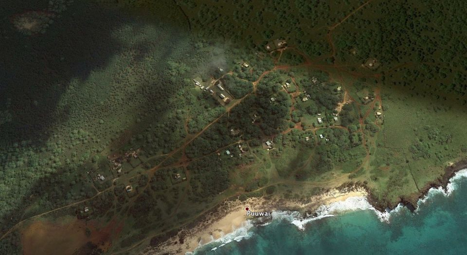 Puuwai, the island of Niihau's only settlement, as seen from Google Earth.