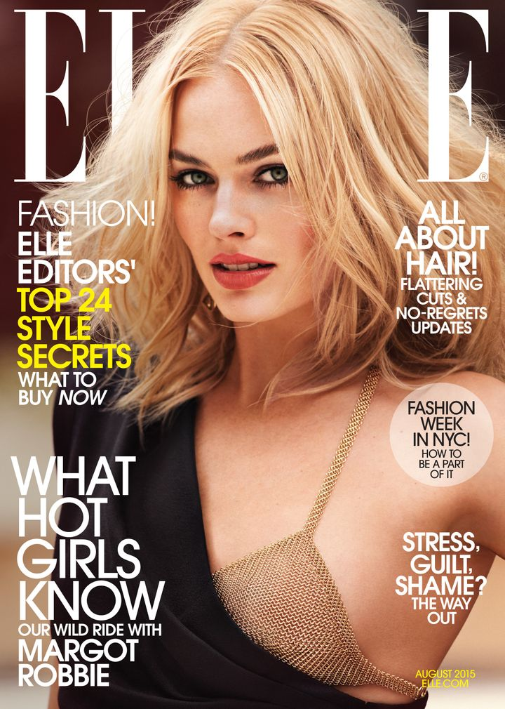Margot Robbie on the cover of Elle magazine, August 2015.