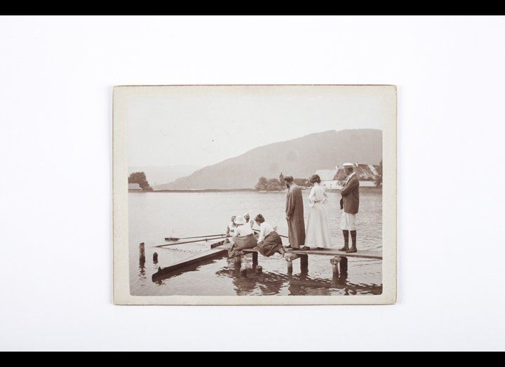Gustav Klimt and friends on a boat landing slip, Attersee ca. 1903