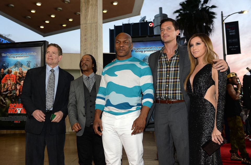 HOLLYWOOD, CA - APRIL 11:  (L-R) Producer David Zucker, actor Katt Williams, former professional boxer Mike Tyson actors Simo