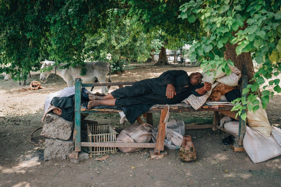 A man sleeping in the shade in Balana, near Kom Umbo. Temperatures reach over 45C in summer. It's not possible for street ven