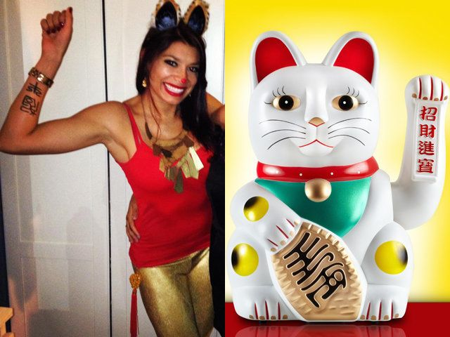 This costume is both creative and fairly easy to execute well. You need some gold leggings, decorated cat ears, a tassel and