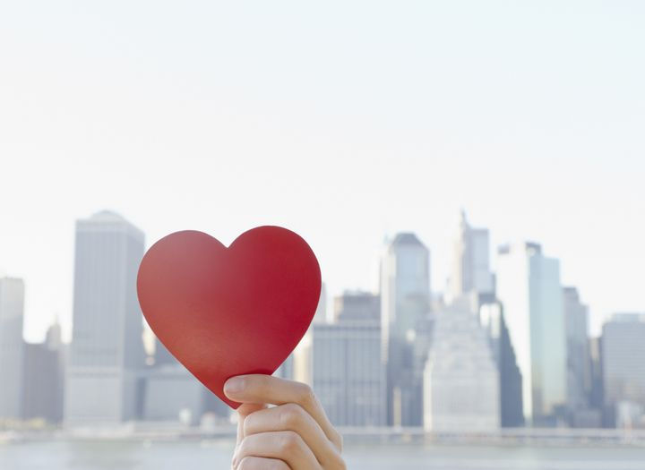 USA, New York State, New York City, Manhattan, Hand holding heart shape