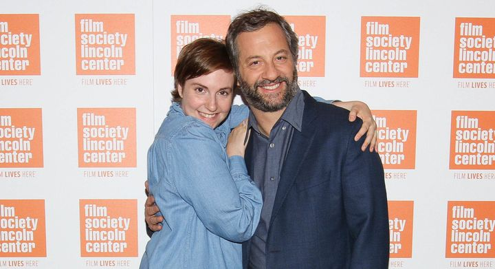 NEW YORK, NY - JULY 13:  Lena Dunham (L) and Judd Apatow attend the 2015 Film Society of Lincoln Center Summer Talks with Jud