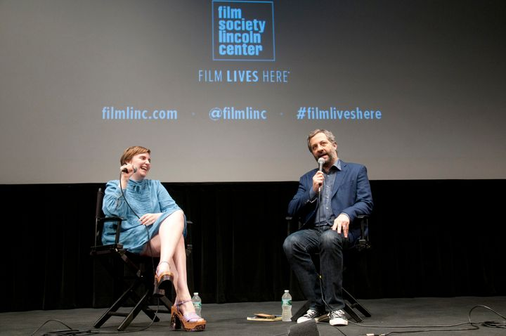 Lena Dunham and Judd Apatow discuss their work at Lincoln Center on July 14, 2015.