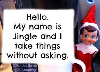 """<a href=""""http://elfshaming.com/2012/12/04/jingle-helps-himself/"""">Via Elf Shaming</a>"""