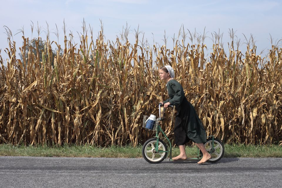"In this image released by PBS, a girl rides a foot push bike in a scene from ""The Amish: American Experience,"" a film that of"