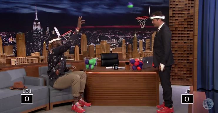 """LeBron James duels Jimmy Fallon in a close game of """"Faceketball."""""""