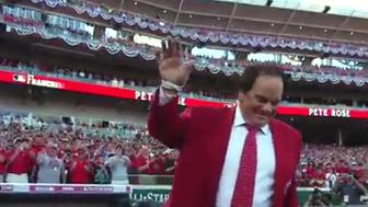 Pete Rose takes to the field ahead of the All-Star Game.