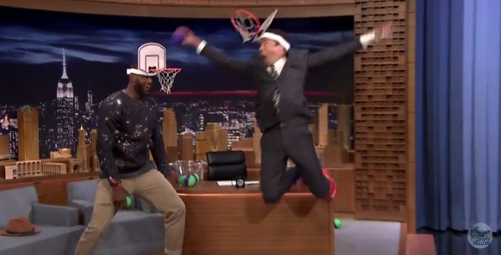 """Jimmy Fallon dunks on LeBron James during a game of """"Faceketball."""""""