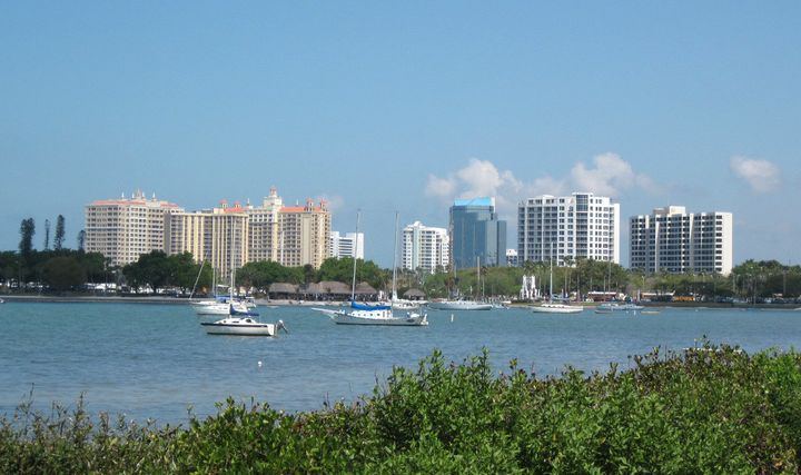 Downtown Sarasota and the marina from my favorite viewpoint in Marie Selby Botanical Gardens.  The blue building in the cente